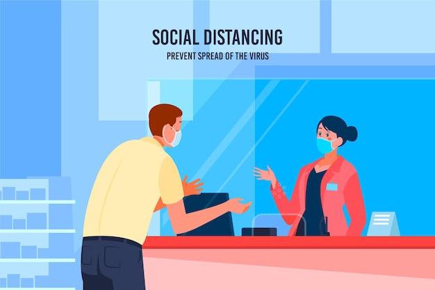 Beschermend glas voor sociale afstanden Gratis Vector