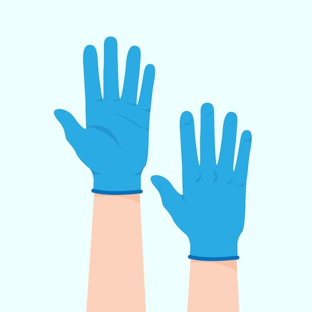 Beschermende blauwe handschoenen op handen Gratis Vector