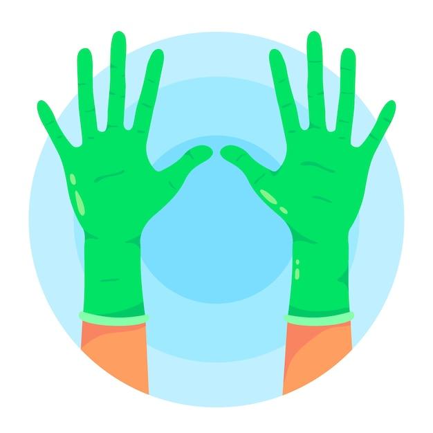 Beschermende groene handschoenen Gratis Vector