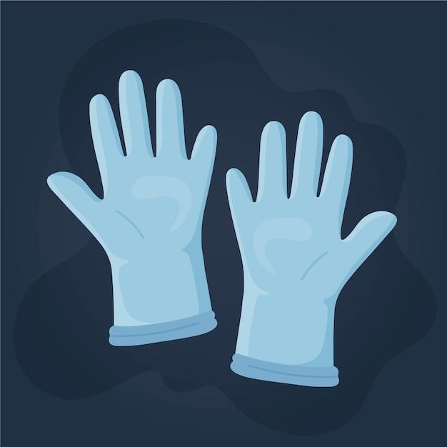 Beschermende handschoenen illustratie Gratis Vector