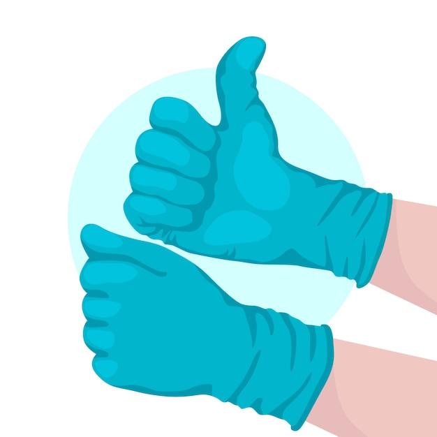 Beschermende handschoenen voor coronavirusontwerp Gratis Vector