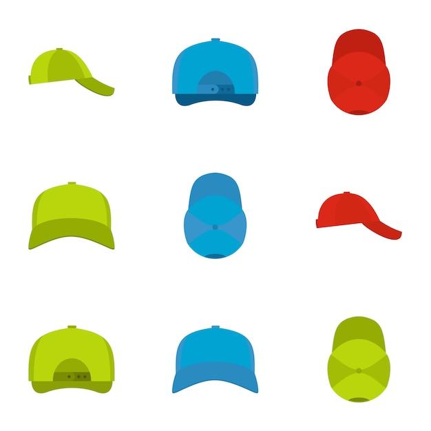 Beschermende helm icon set, vlakke stijl Premium Vector