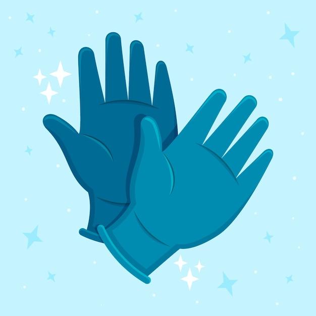 Beschermende medische handschoenen Gratis Vector