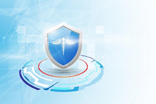 Bescherming gezondheidszorg apotheek medische innovatie achtergrond. Premium Vector