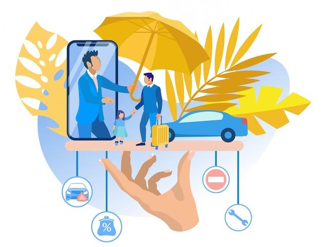 Bescherming klantverzekeringsmaatschappij in situatie. Premium Vector