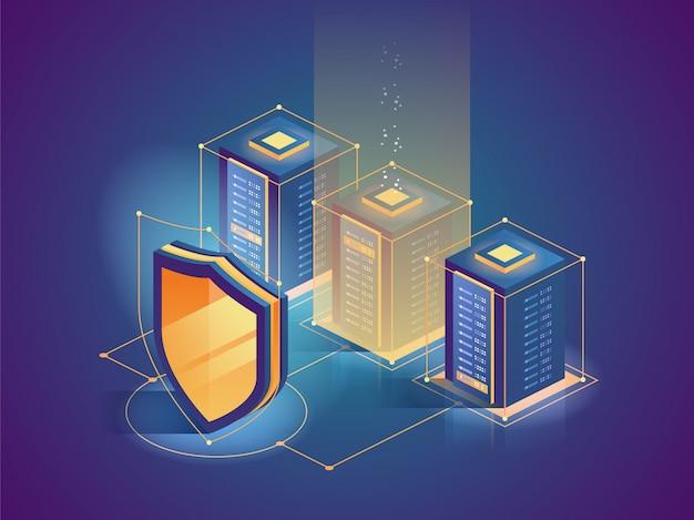 Bescherming netwerkbeveiliging en veilig uw gegevens Premium Vector