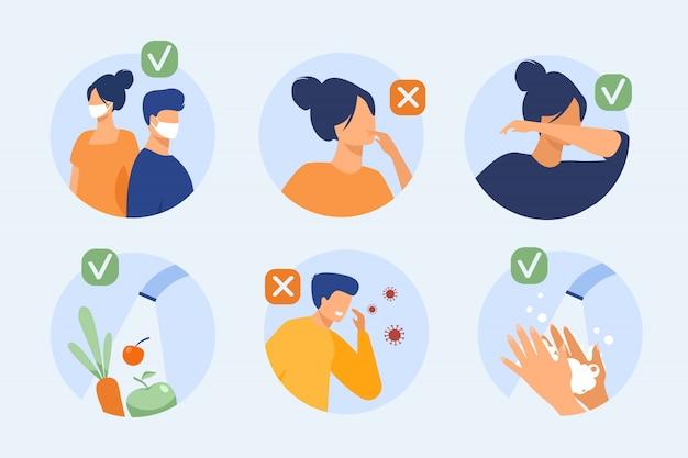 Bescherming tegen coronavirus tips Gratis Vector