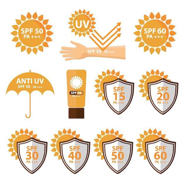 Bescherming tegen de zon ontwerpt collectie Gratis Vector