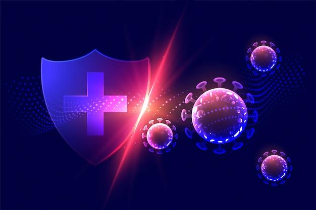 Bescherming van de gezondheidszorg schild corona virus concept vernietigen Gratis Vector