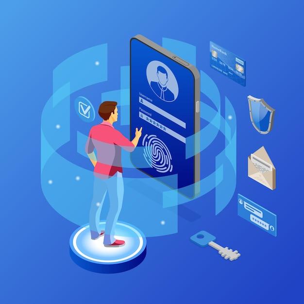 Bescherming van persoonlijke gegevens, internetbeveiliging. telefoon met vertrouwelijke gegevensbescherming Premium Vector