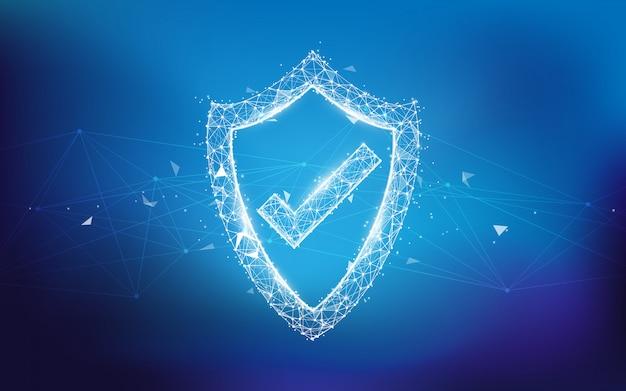 Beschermingsschild en netwerkbeschermingsconcept van lijnen, driehoeken en ontwerp van de deeltjesstijl. illustratie vector Premium Vector