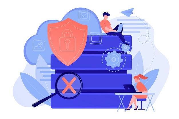 Beschermingsschild met slot, vergrootglas en gebruikers die met beveiligde gegevens werken. internetbeveiliging, privacy en gegevensbescherming, veilig werkconcept. vector geïsoleerde illustratie. Gratis Vector