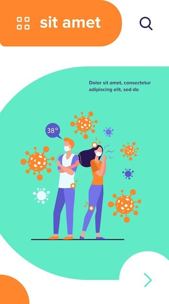 Besmette mensen met gezichtsmaskers die lijden aan angst- en coronavirus-symptomen Gratis Vector