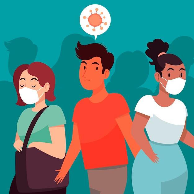Besmette mensen onder gezond Gratis Vector