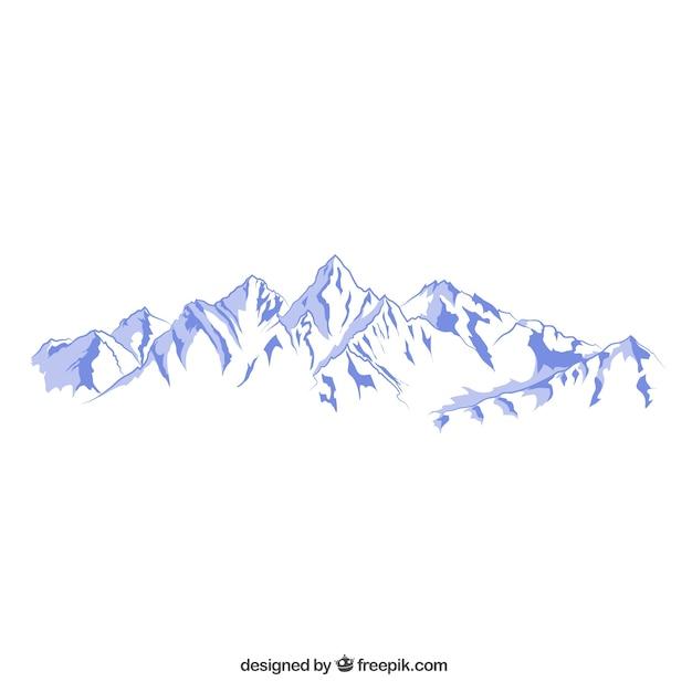 Besneeuwde bergen illustratie Gratis Vector