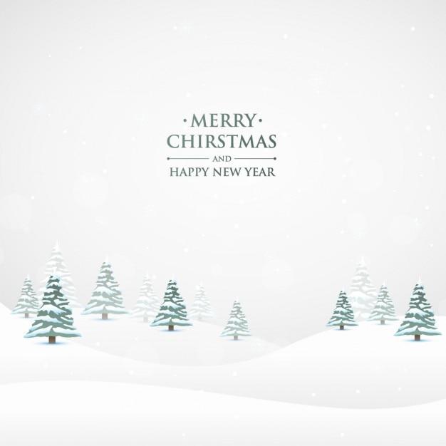 Besneeuwde Kerst Natuur Achtergrond Vector Gratis Download