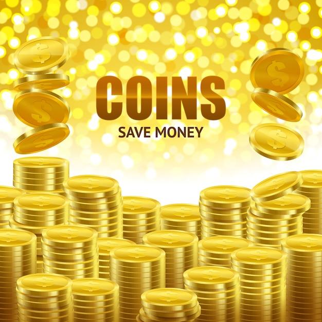 Bespaar geld financiële poster Gratis Vector