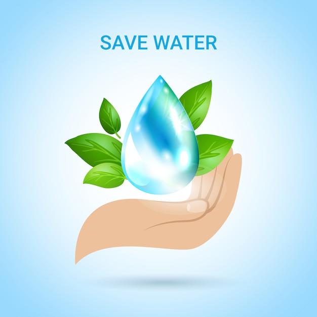 Bespaar water Gratis Vector