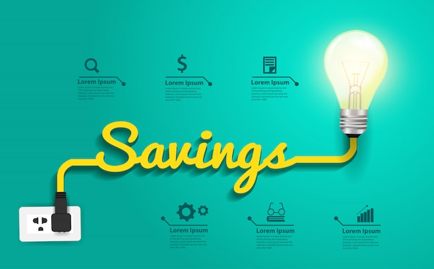Besparingen concept, creatieve gloeilamp idee abstracte infographic lay-out, diagram, intensiveren van opties Premium Vector