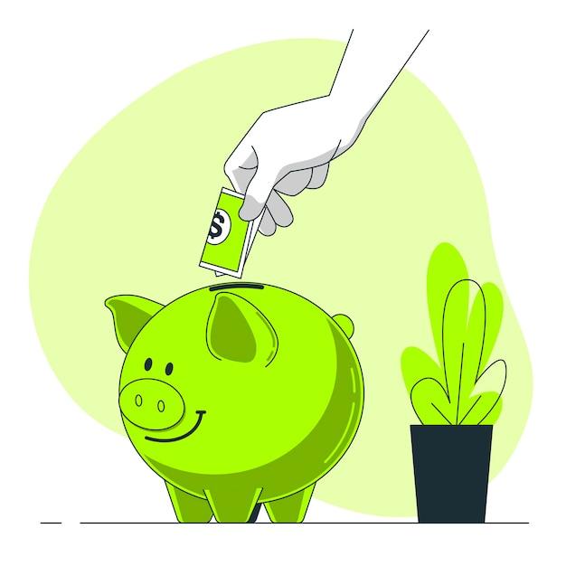 Besparingen concept illustratie Gratis Vector