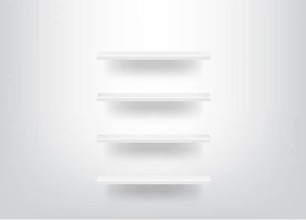 Bespotten realistische lege planken voor interieur met licht en schaduw achtergrond Premium Vector