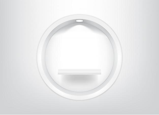 Bespotten van realistische lege cirkelplanken Premium Vector