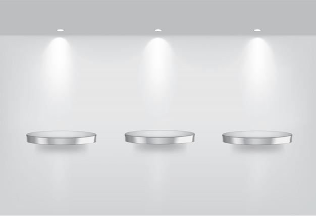 Bespotten van realistische lege metalen planken Premium Vector