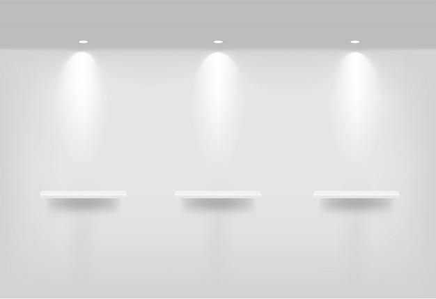 Bespotten van realistische lege planken voor interieur Premium Vector