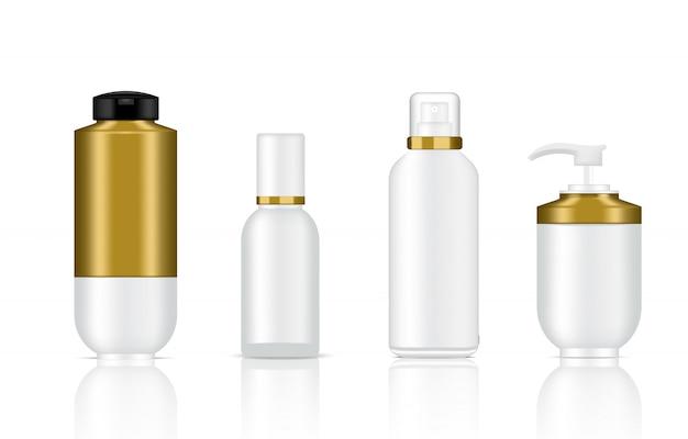 Bespotten van realistische witte en gouden cosmetische zeep, shampoo en spray luxe flessen Premium Vector