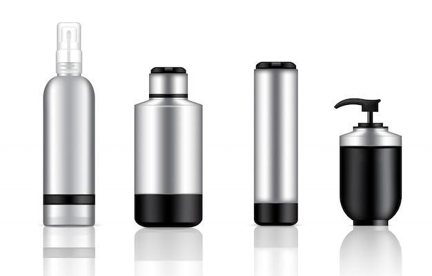 Bespotten van realistische zwarte en metalen cosmetische pompzeep, shampoo en spray Premium Vector