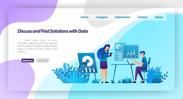 Bespreek en vind oplossingen voor problemen door gegevens te analyseren. werknemers die bijeenkomen voor een zakelijke dialoog. bestemmingspagina websjabloon Premium Vector