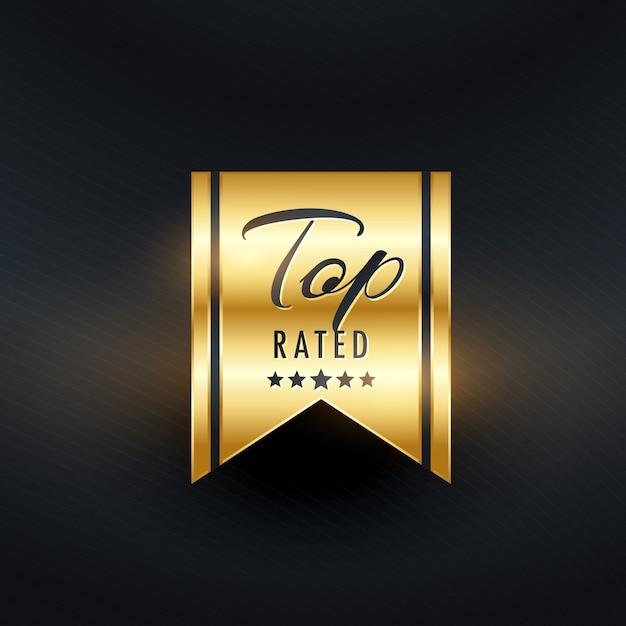 Best beoordeeld gouden labelontwerp Gratis Vector