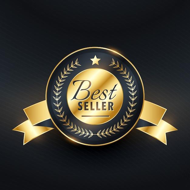 Best-seller gouden label badgeontwerp Gratis Vector