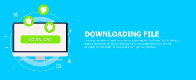 Bestand downloaden naar computerbanner. de groene pijlen die naar de monitor gaan. Gratis Vector