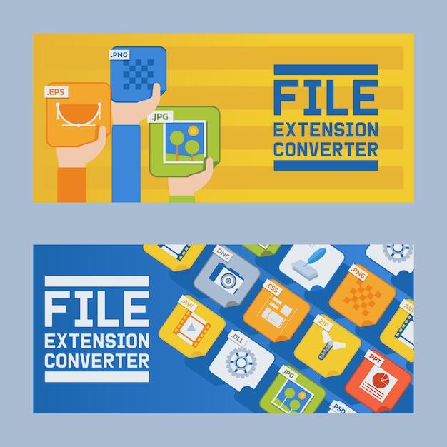 Bestandsextensie converter set banner. audio, foto, afbeelding, woordbestandstype. document formaat. pictogram. web en multimedia. Premium Vector
