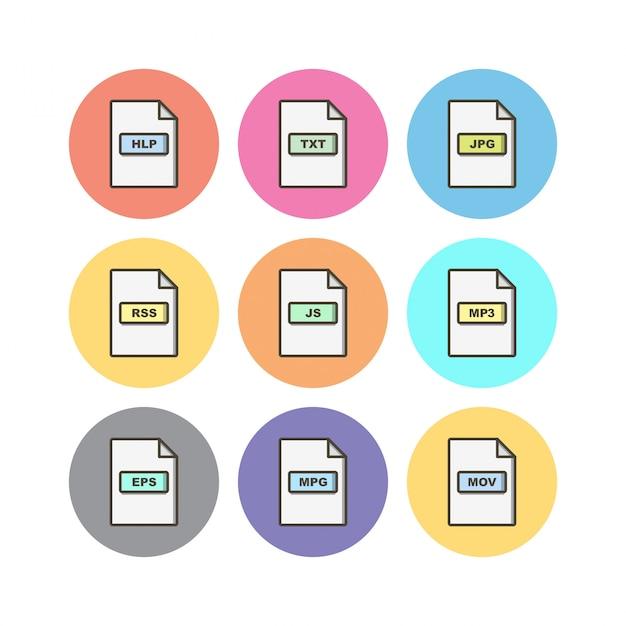 Bestandsformaten pictogrammenblad geã¯soleerd op witte achtergrond Premium Vector