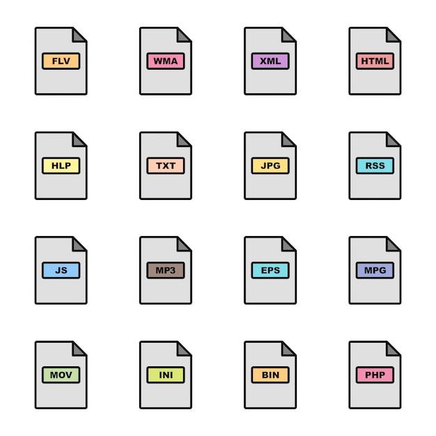 Bestandsindelingen pictogrammen instellen Premium Vector