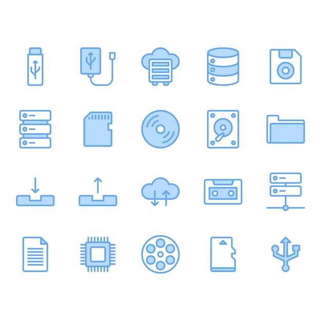 Bestandsopslag icon set Premium Vector