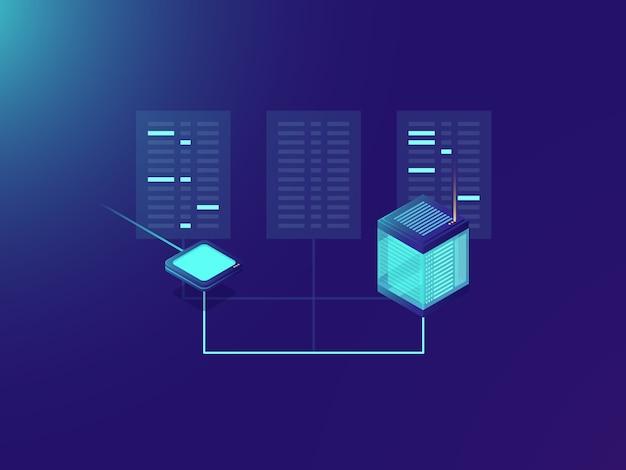 Bestandsoverdrachtproces, verwerken van big data, serverruimte, datacenter Gratis Vector