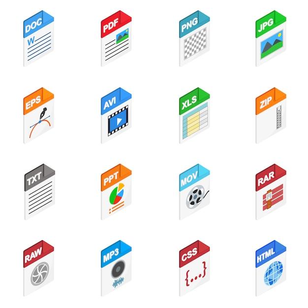 Bestandstypen pictogrammen in isometrische 3d-stijl op wit wordt geïsoleerd Premium Vector