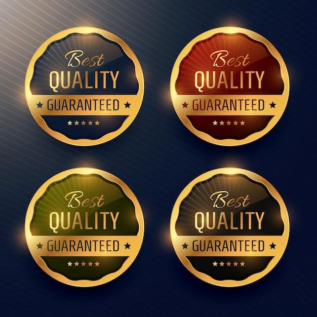 Beste kwaliteit gegarandeerde premium gouden etiket en badges vector design Gratis Vector