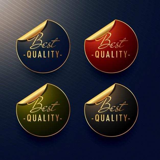 Beste kwaliteit gouden stickers met paginakrul Gratis Vector
