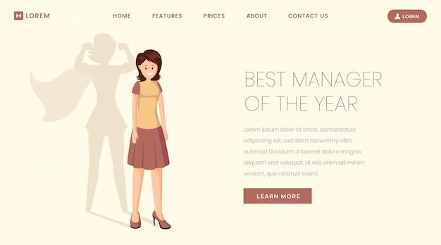 Beste manager bestemmingspagina sjabloon. super werker, medewerker van het jaar website, webpagina Premium Vector
