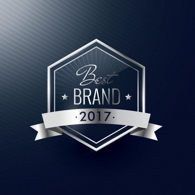 Beste merk van het jaar zilver luxe realistisch label Gratis Vector