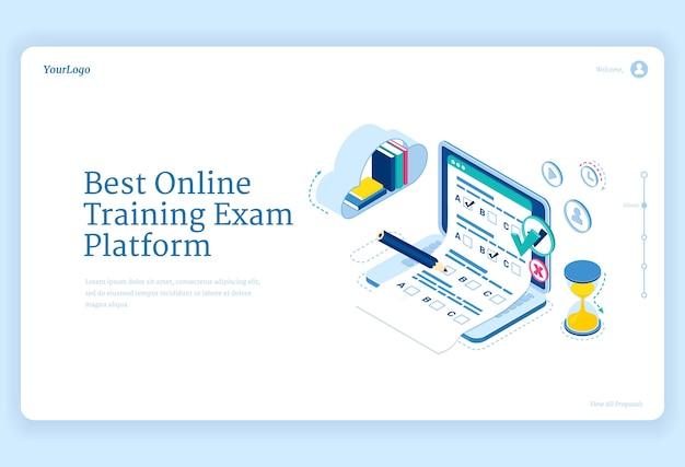 Beste online training examenplatform banner. concept van internet leren, digitale toegang tot examens Gratis Vector