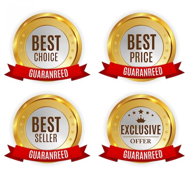 Beste prijs, verkoper, keuze en exclusief aanbod golden shiny label Premium Vector