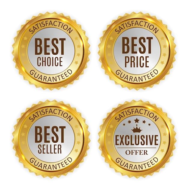 Beste prijs, verkoper, keuze en exclusief aanbod gouden glanzende badge Premium Vector
