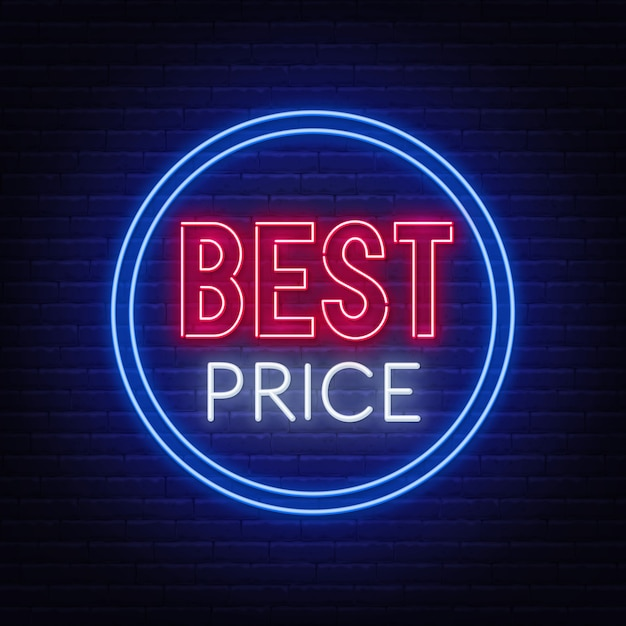 Beste prijsneonteken op bakstenen muur. Premium Vector