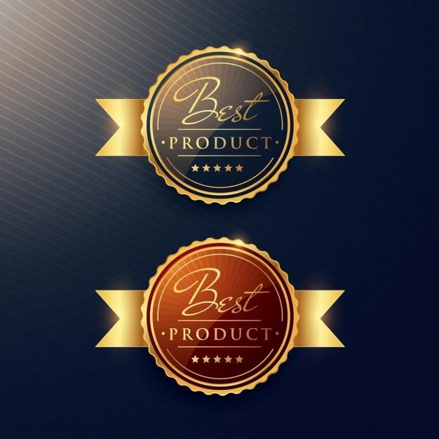 beste product luxe gouden label set van twee badges Gratis Vector