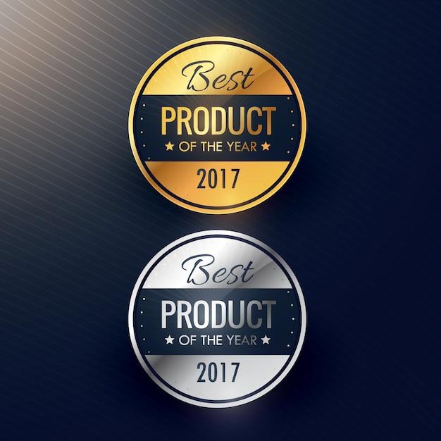 Beste product van het jaar badges in goud en zilver kleuren Gratis Vector